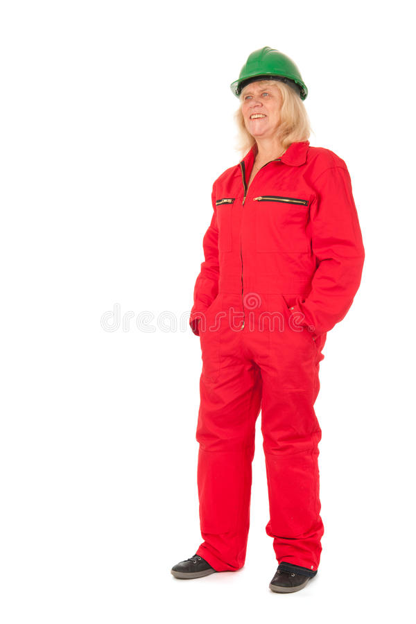 Senior female construction worker royalty free stock images