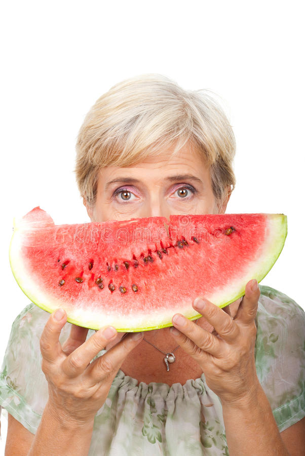 Senior Female Holding Watermelon Stock Images