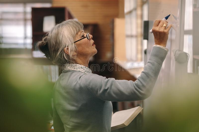 Senior female lecturer writing on board stock image