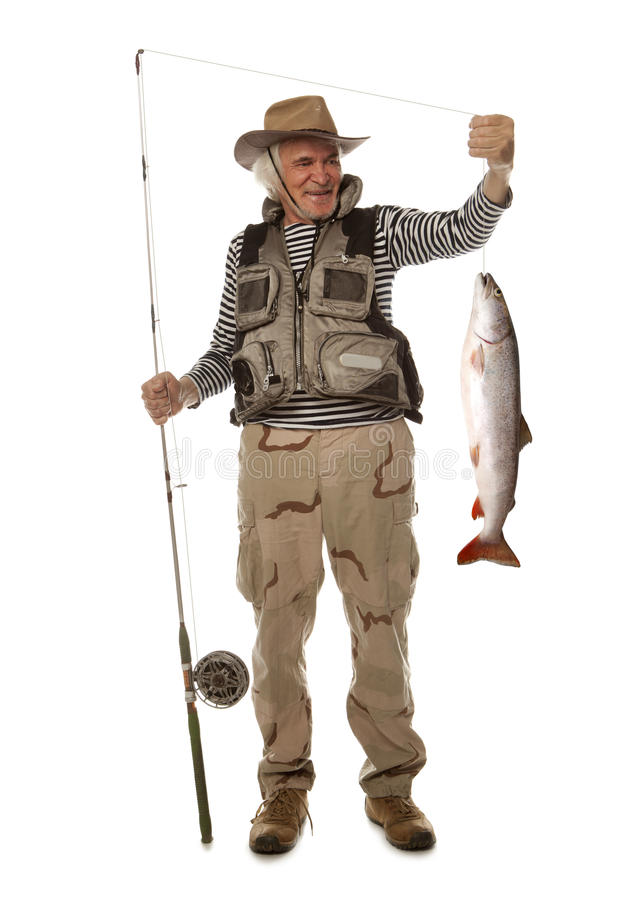 Senior fisherman with big fish - salmon isolated stock photography
