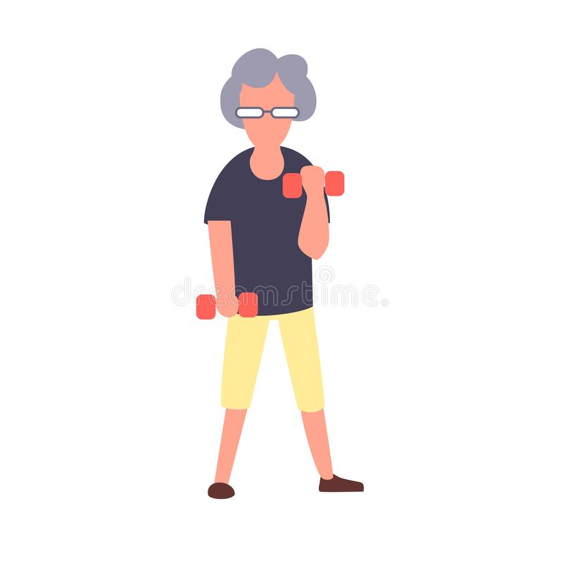 Senior fitness woman training with dumbbells. Recreation and leisure senior activities concept. Cartoon elderly female. Vector character royalty free illustration