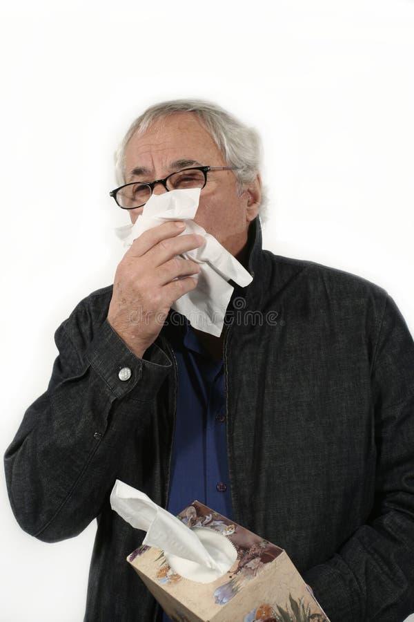 Senior with the flu royalty free stock photo