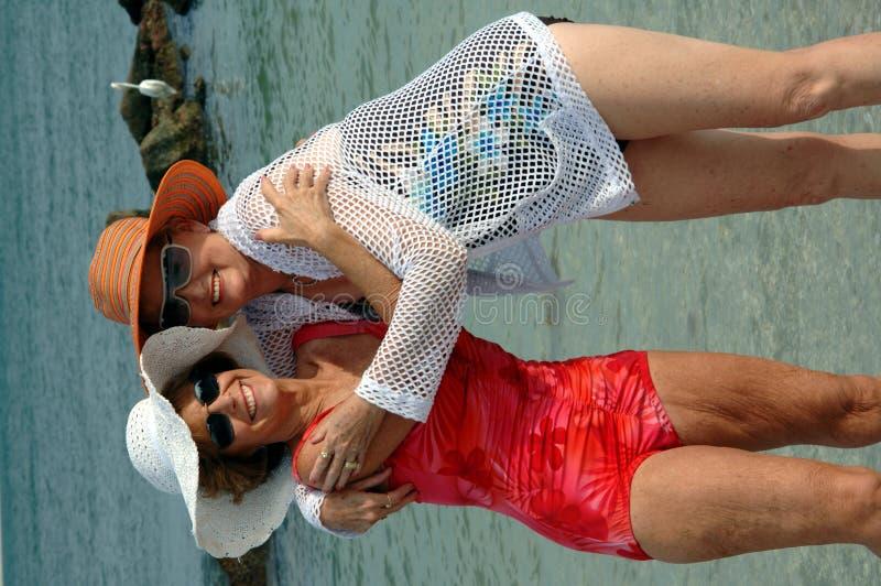 Senior friends beach vacation stock image