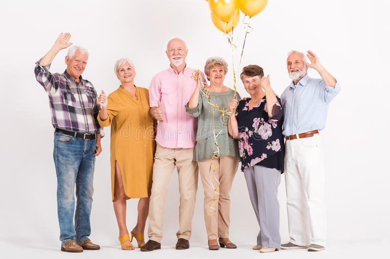 Friends celebrating birthday royalty free stock photography