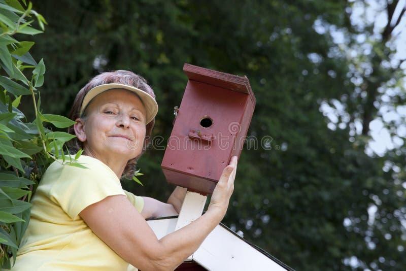 Senior in the garden at the bird feeder royalty free stock photos