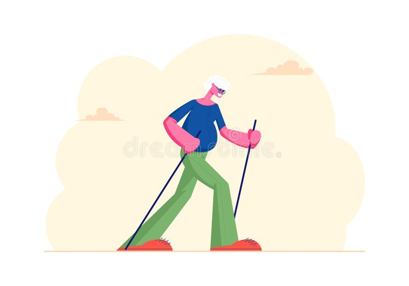 Senior Gentleman Engaged Outdoors Fitness Class in City Park Walking with Scandinavian Sticks. Healthy Lifestyle royalty free illustration