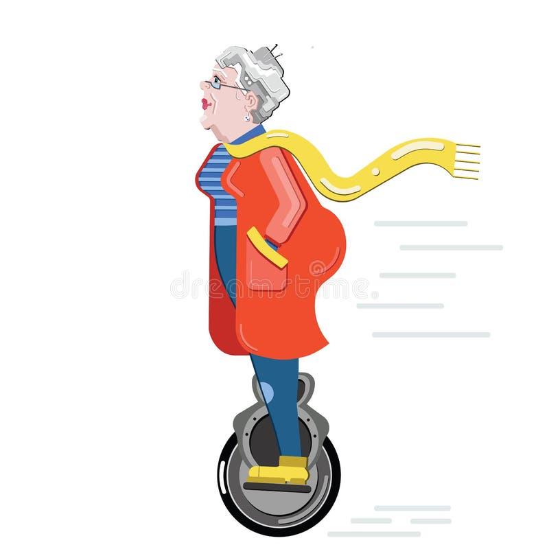 Senior gesperrt Künstliches Glied Prothetisches Bein Wenden Sie Sorgfalt für ältere Frau an Ungültige Person Zeichentrickfilm-Fig vektor abbildung