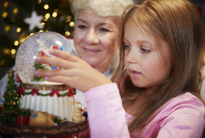 Grandmother with granddaughter stock images