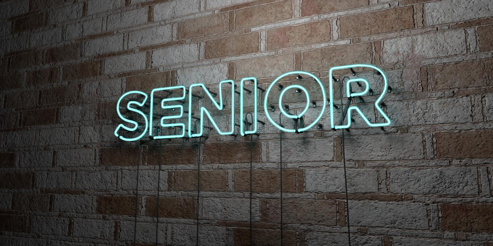 SENIOR - Glowing Neon Sign on stonework wall - 3D rendered royalty free stock illustration. Can be used for online banner ads and direct mailers vector illustration