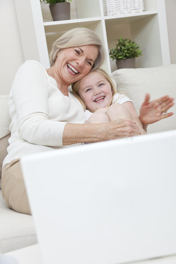 Senior Grandmother & Grandaughter Girl Having Fun stock photography