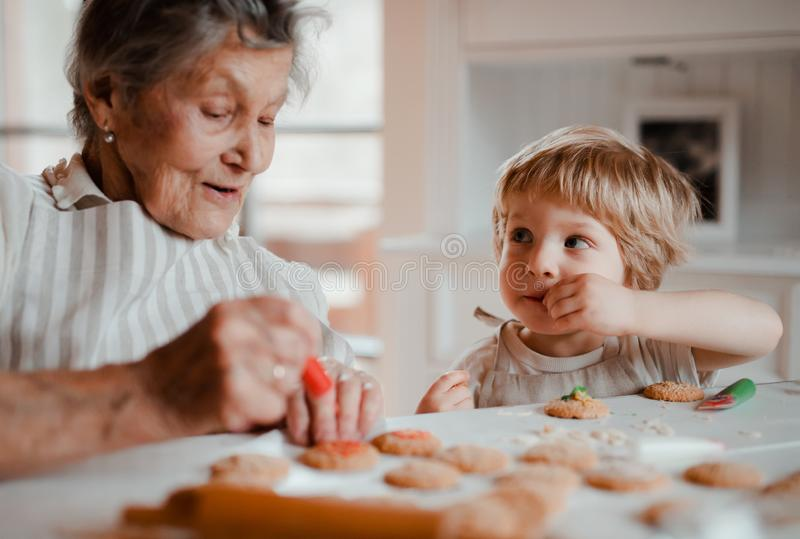 A senior grandmother with small toddler boy making cakes at home. stock photos