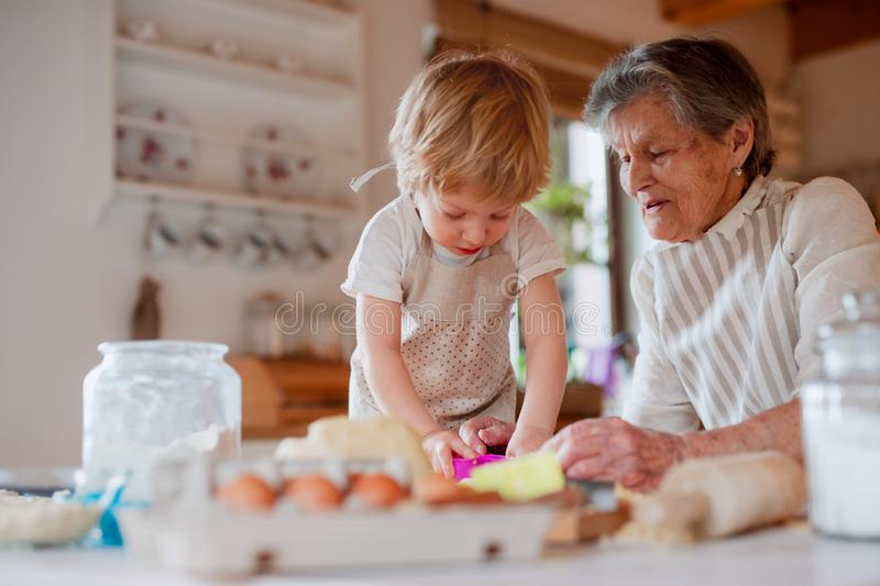 Senior grandmother with small toddler boy making cakes at home. stock photos