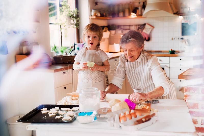 Senior grandmother with small toddler boy making cakes at home. stock images