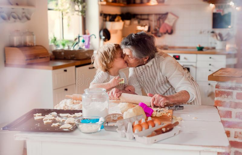 Senior grandmother with small toddler boy making cakes at home, kissing. royalty free stock photography