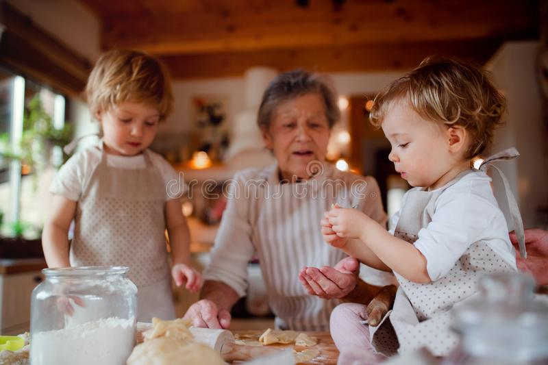 Senior grandmother with small toddler children making cakes at home. royalty free stock photo