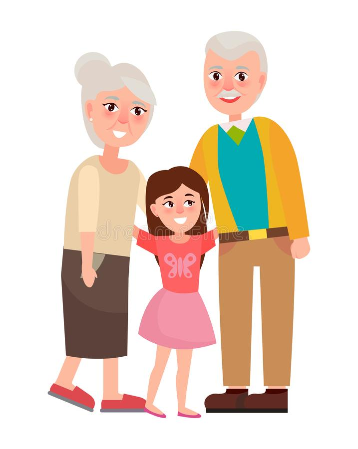 Senior Grandparents with Granddaughter vector illustration