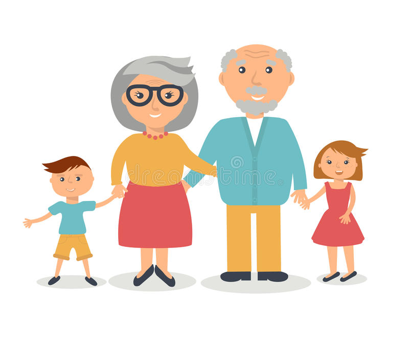 Senior grandparents with their grandchilds. People family concept. Flat style . Grandparent day illustration vector illustration