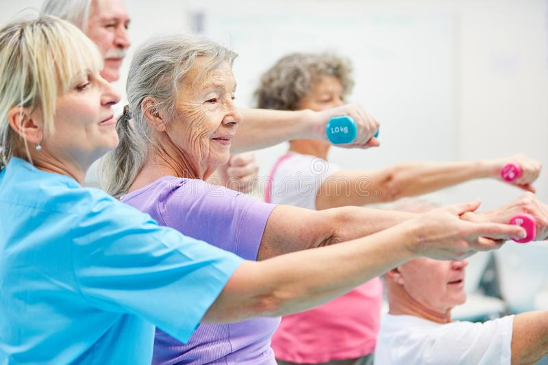Senior group exercises with dumbbells royalty free stock photos