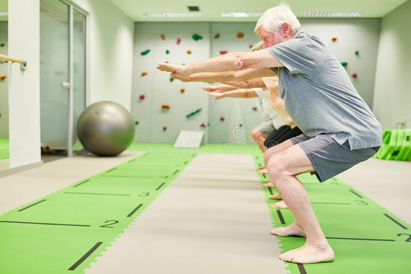 Senior group in fitness class trains leg muscles. Senior group in fitness class trains strength and leg muscles with squats stock image