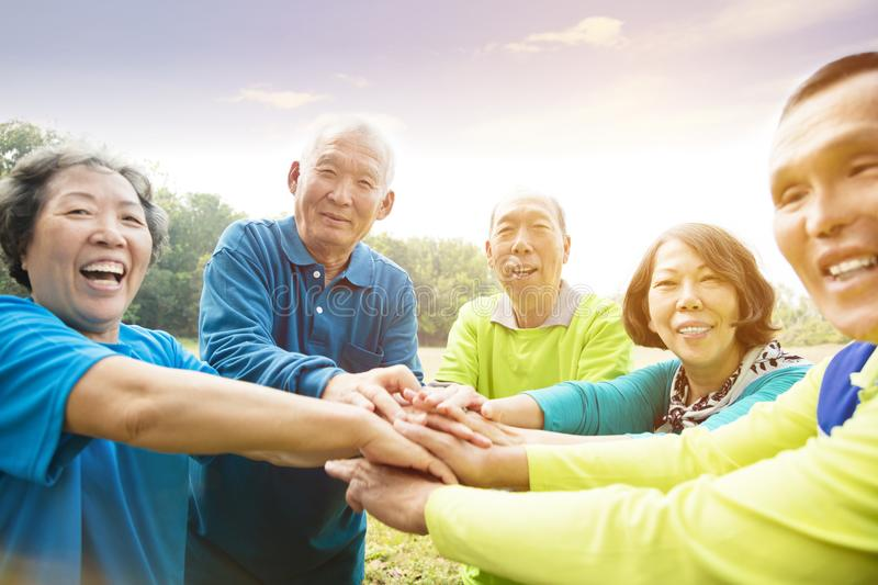 Senior Group Friends Exercise and having fun royalty free stock image