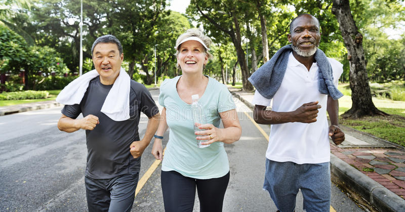 Senior Group Friends Exercise Relax Concept stock photography