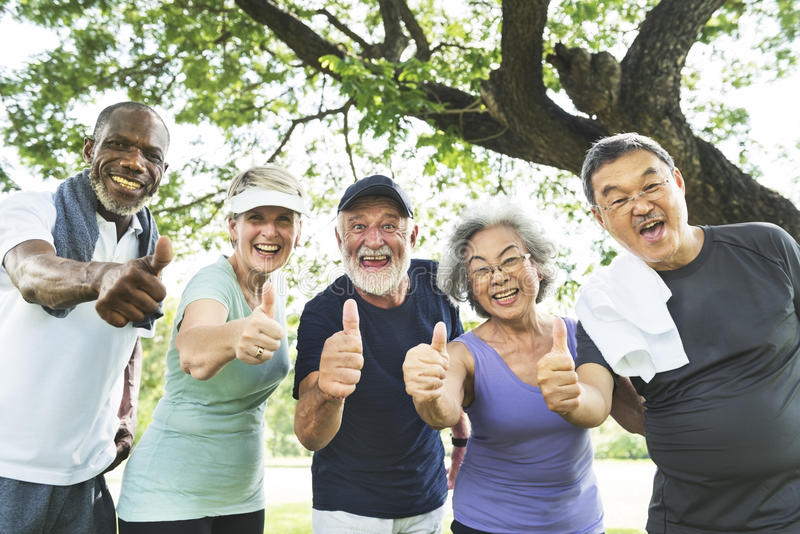 Senior Group Friends Exercise Relax Concept stock images