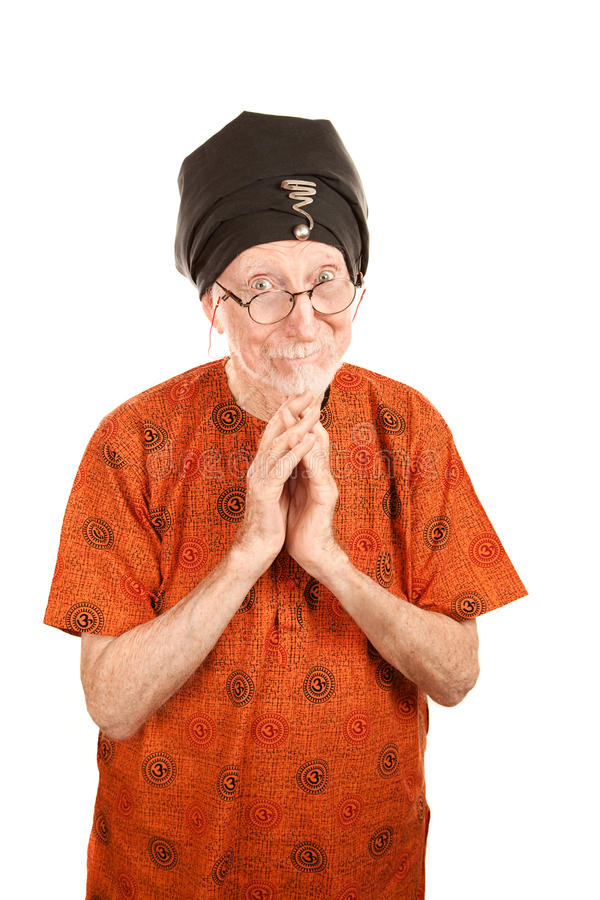 Senior Guru. With hands folded in prayer or blessing royalty free stock photo