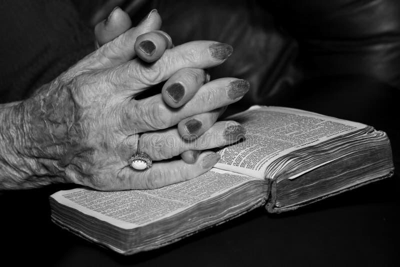 Senior hands in prayer stock photo