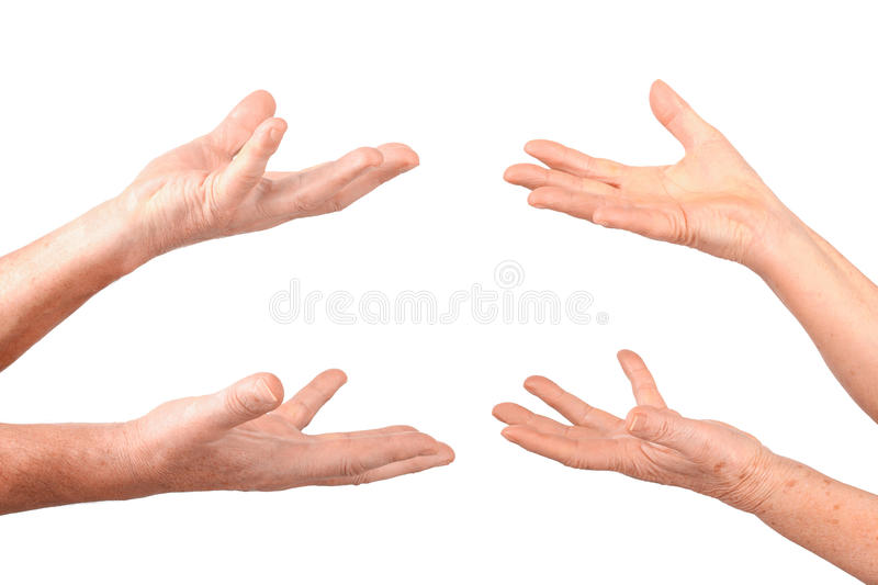 Senior hands show hold on palms gesture