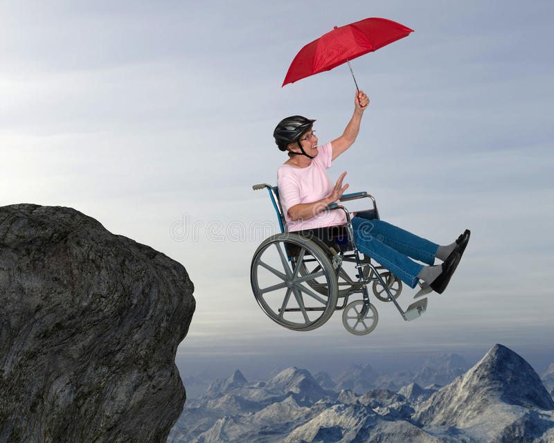 Senior Happy Fun Active Retirement. Abstract concept of a senior woman who enjoys the freedom of retirement. Despite being confined to a wheelchair the old woman stock photos