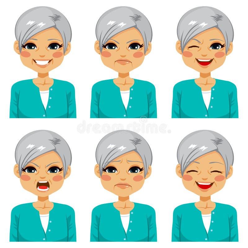 Senior Happy Woman Face Expressions. Senior adult happy woman making six different face expressions set royalty free illustration