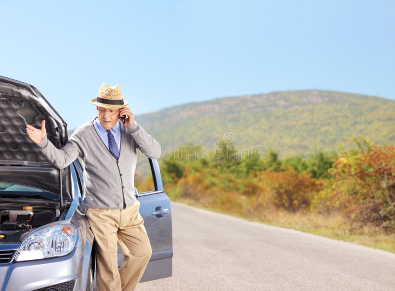 Download Senior Having A Problem With His Car Stock Photo - Image: 46386510
