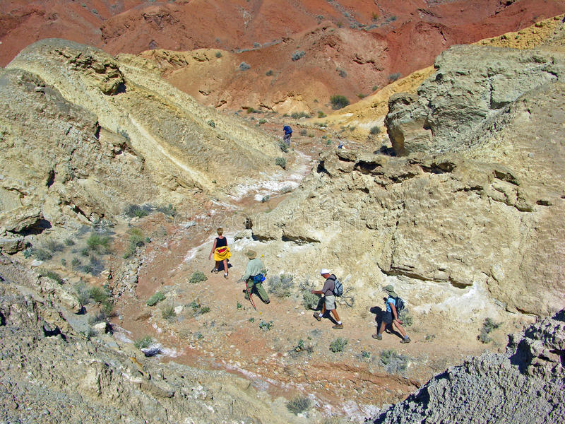 Senior hikers in Pinto Valley near Lake Mead Nevada royalty free stock photography