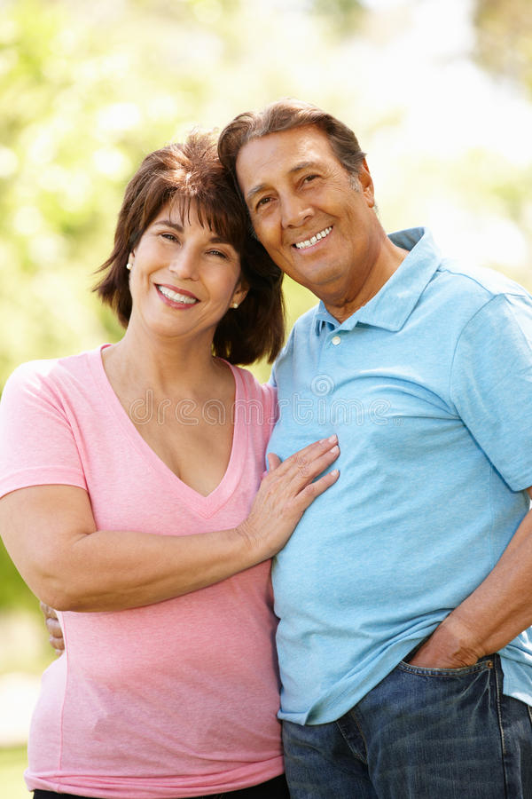 Senior Hispanic couple outdoors stock photo