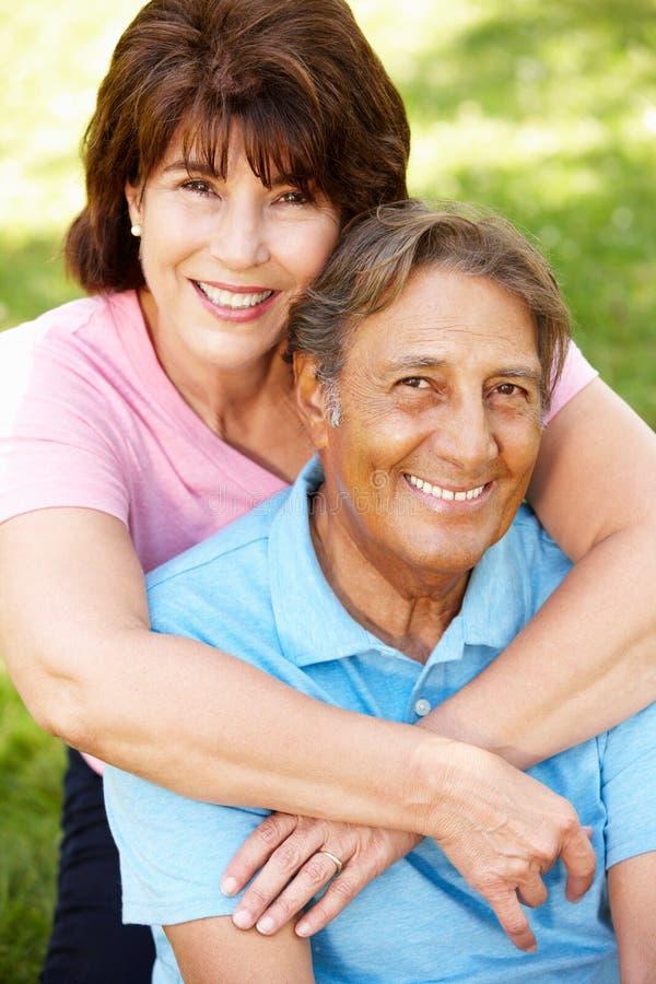 Senior Hispanic couple outdoors royalty free stock image
