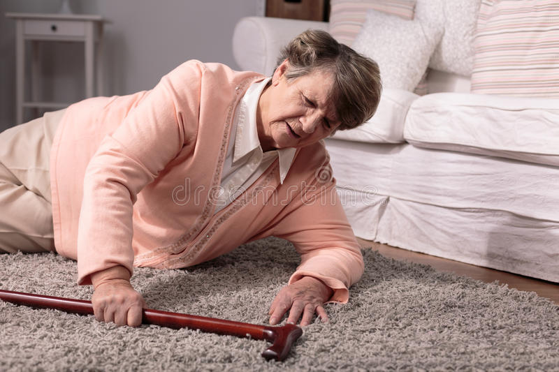 Senior and home accident royalty free stock image