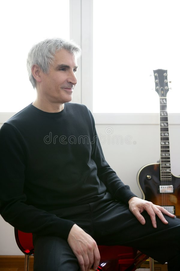 Download Senior Jazz Musician Portrait, Guitar Royalty Free Stock Photo - Image: 8089955