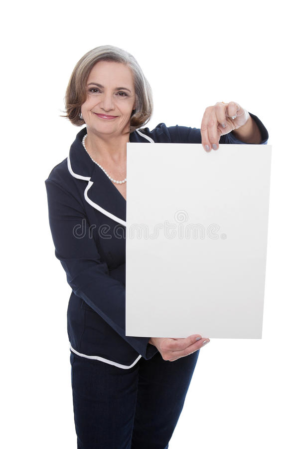 Senior lady with blank board - elder woman isolated on white background royalty free stock photos