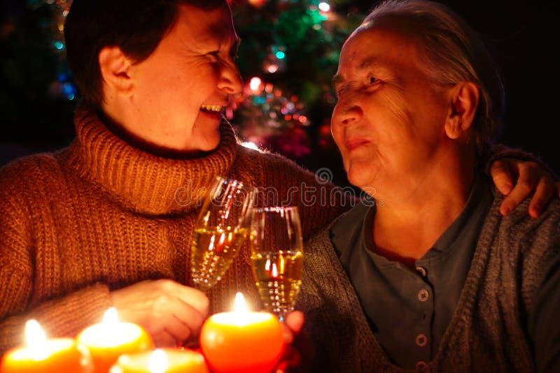 Senior Lady Celebrating New Year royalty free stock photos