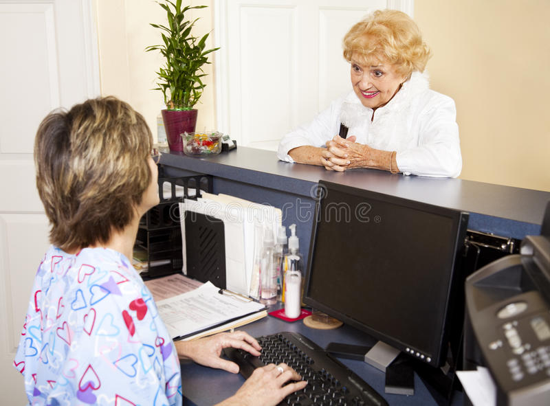 Senior Lady at the Doctor stock images