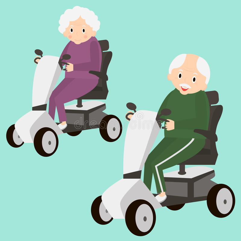 Elderly Transportation: Senior Lady And Man On A Mobility Scooter. Elderly People