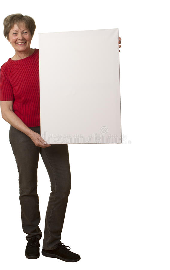Download Senior lady with placard stock photo. Image of blue, modern - 34163340