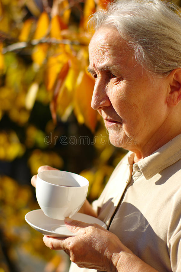 Senior Lady Portrait In Autumn stock photography