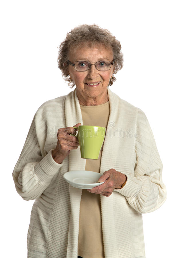 Download Senior Lady Smiling Holding A Cup Of Coffee Stock Photo - Image: 27243584