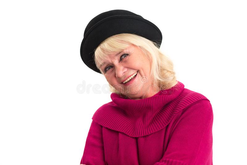 Senior lady smiling isolated. Happy woman on white background. Positive mindset and good health royalty free stock photography