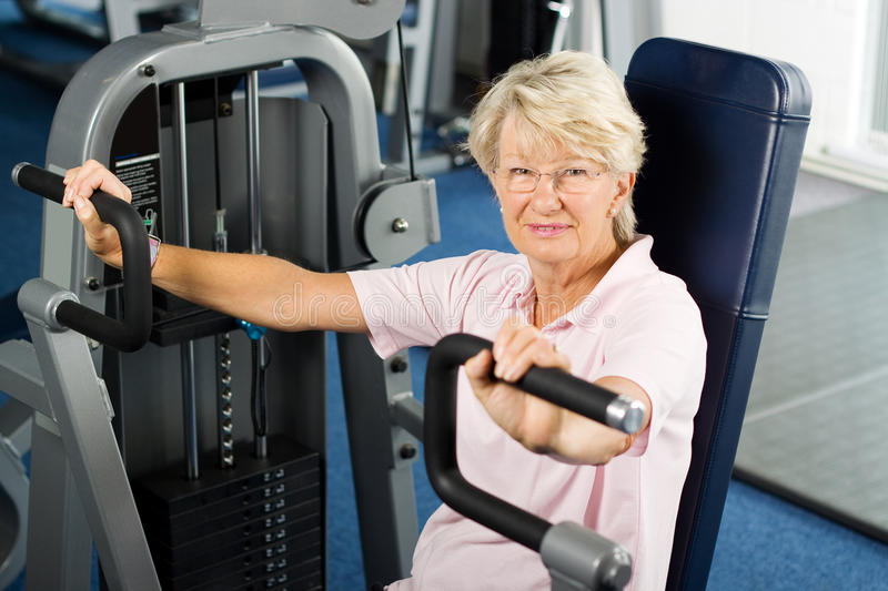 Senior lady working out stock photo