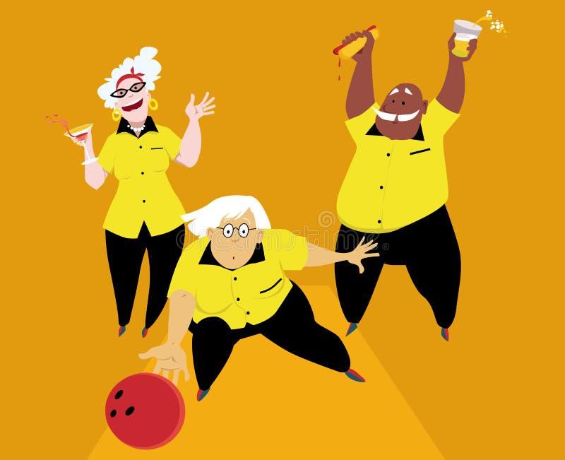 Senior league bowling vector illustration