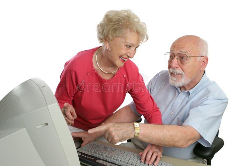 senior lekcji komputerowej pytań zdjęcie royalty free