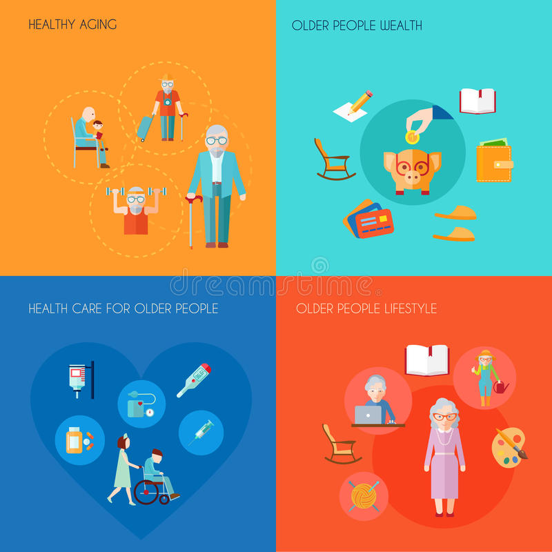 Senior Lifestyle Flat. Senior lifestyle design concept set with healthy aging older people wealth old people health care flat icons isolated vector illustration vector illustration