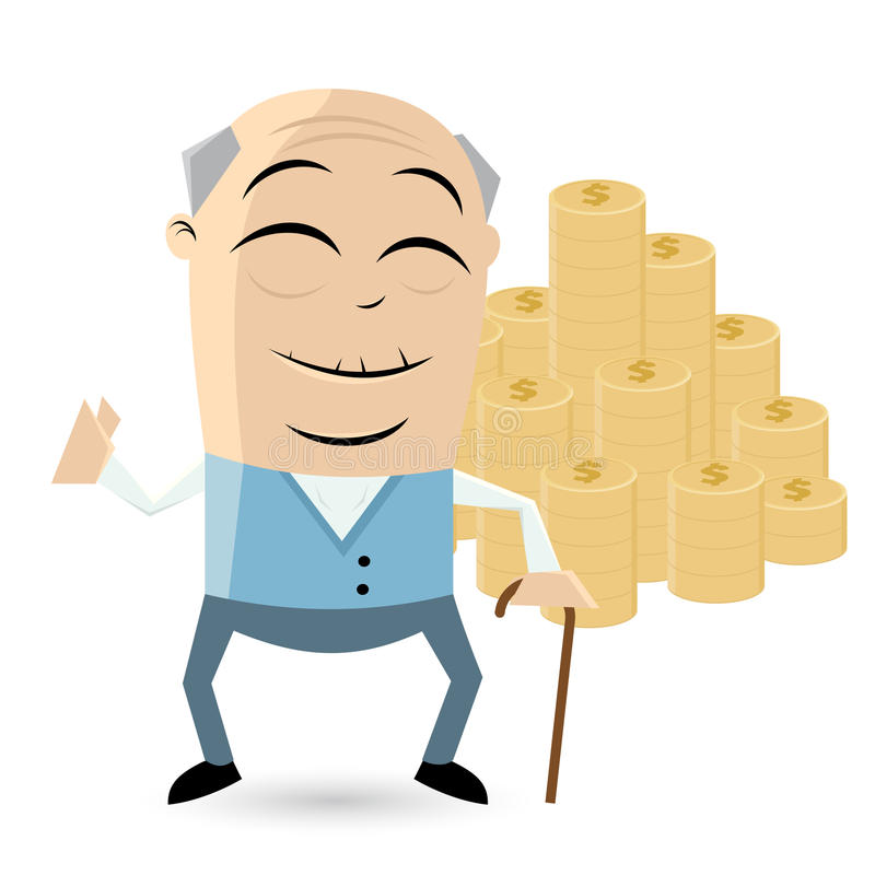 Senior with a lot of money. Funny senior with a lot of money vector illustration